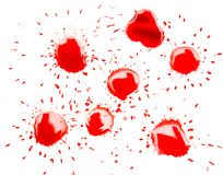 在白色背景的红色斑点污点 免版税库存图片