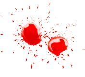 在白色背景的红色斑点污点 图库摄影