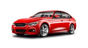在白色背景的红色普通轿车汽车与被隔绝的道路 免版税图库摄影