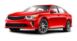 在白色背景的红色普通轿车汽车 免版税库存图片