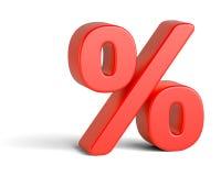 在白色背景的红色百分率符号 免版税库存照片