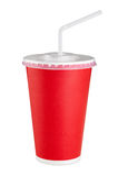 在白色背景的红色纸杯 库存图片
