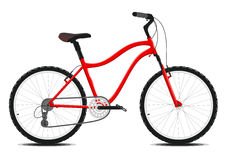 在白色背景的红色自行车。传染媒介。 库存照片