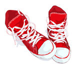 在白色背景的红色运动鞋 也corel凹道例证向量 免版税库存照片