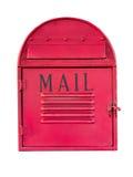 在白色背景的红色邮箱 库存照片