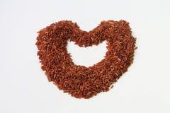在白色背景的红褐色的米 免版税库存照片