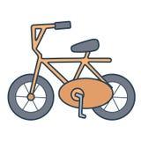 在白色背景的线性橙色自行车 图库摄影