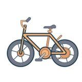在白色背景的线性橙色自行车 库存照片