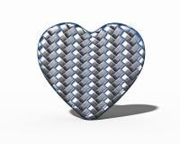 在白色背景的结辨的钢心脏与阴影 库存例证