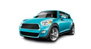 在白色背景的绿松石普通紧凑小汽车与被隔绝的道路 免版税库存图片