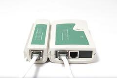 在白色背景的缆绳测试器 库存照片