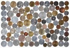 在白色背景的罗马尼亚硬币收集 库存照片