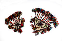 在白色背景的美丽的东方土耳其手工制造地毯 库存照片