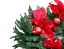 在白色背景的美丽的圣诞节花圈, 免版税库存照片