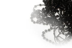 在白色背景的美丽的黑头粉刺项链 免版税库存图片