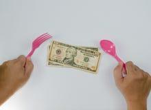在白色背景的美元美味的现金 免版税库存图片