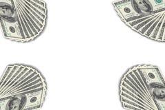 在白色背景的美元钞票 库存图片