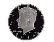 在白色背景的美国银色半元 图库摄影