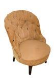 在白色背景的老使用的扶手椅子 免版税库存照片