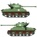 在白色背景的老军事坦克 免版税库存照片