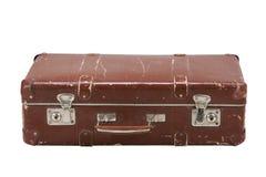 在白色背景的老手提箱 免版税图库摄影