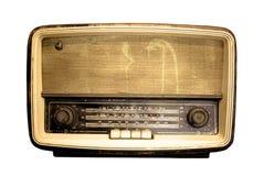 在白色背景的老收音机 图库摄影