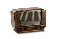 在白色背景的老收音机 免版税库存图片