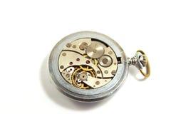 在白色背景的老机械手表 免版税库存图片