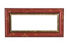 在白色背景的老红色木照片框架 免版税库存照片