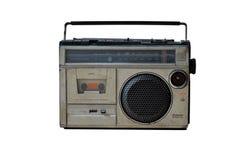 在白色背景的老葡萄酒收音机 库存图片