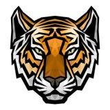 在白色背景的老虎顶头商标吉祥人 库存图片