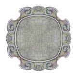 在白色背景的老被雕刻的石框架容易的选择的 免版税库存照片