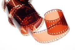 在白色背景的老阴性35mm影片小条 免版税图库摄影