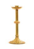 在白色背景的老黄铜蜡烛台 库存图片