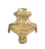 在白色背景的老黄铜蜡烛台 库存照片