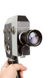 老8mm电影摄影机在手中 库存图片