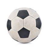 在白色背景的老soccerball 图库摄影