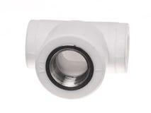 在白色背景的聚丙烯(PVC)配件 免版税库存图片