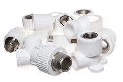 在白色背景的聚丙烯(PVC)配件 库存照片