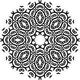 在白色背景的艺术黑花卉无缝的相称样式 库存照片