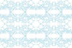 在白色背景的花卉巴洛克式的无缝的样式蓝色 免版税库存照片