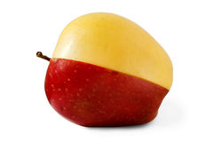 在白色背景的苹果计算机,红色苹果 免版税库存图片