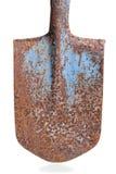 在白色背景的茎老生锈的铁锹 库存图片