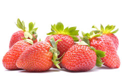 在白色背景的草莓 免版税库存照片