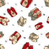 在白色背景的落的圣诞礼物 与礼物的圣诞节样式 有红色丝带的礼物盒 无缝的圣诞快乐 向量例证