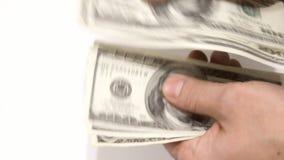 在白色背景的落的美元 股票录像