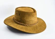 在白色背景的葡萄酒棕色牛仔帽 免版税库存图片