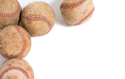 在白色背景的葡萄酒皮革棒球 库存图片