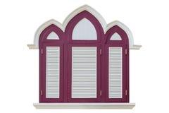 在白色背景的葡萄酒窗口 库存照片