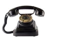 在白色背景的葡萄酒黑电话 免版税图库摄影